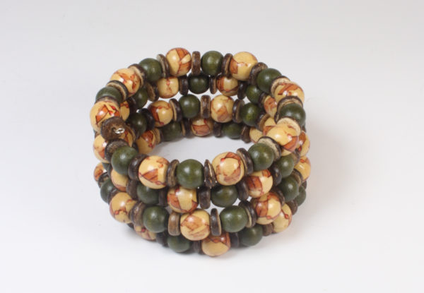Bracelet - moss green & printed wood