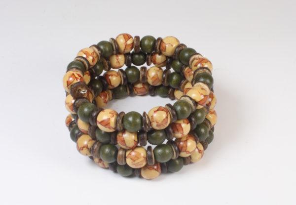 Bracelet - moss green & printed wood