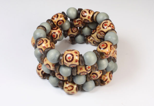Bracelet -  pale blue printed wood