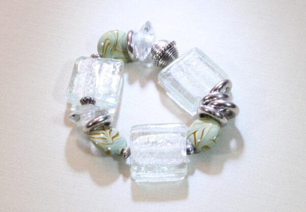 Bracelet - lampwork square glass & acrylic