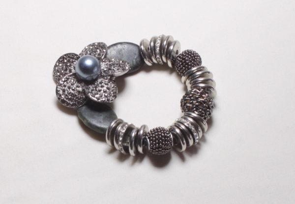Bracelet - silver flower & serpentine