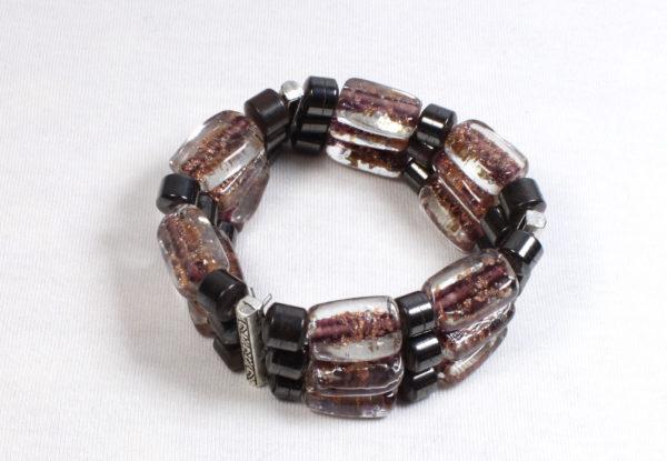 Bracelet glitter lampwork glass & hematite