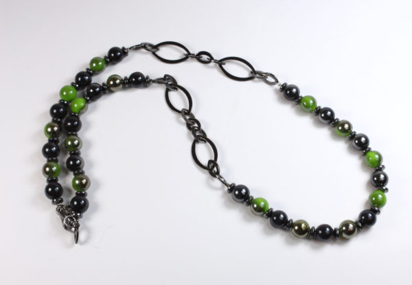 Necklace - gunmetal chain, green & black glass