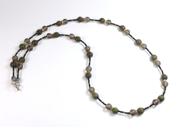 Necklace - moss green wood & grey frosted glass
