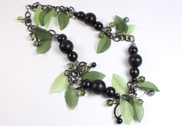 Necklace - black wood & green leaves