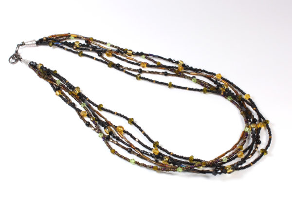 Necklace - black/amber & metallic brown seeds