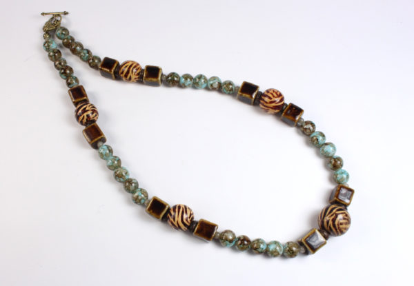 Necklace - porcelain, wood & blue/brown glass
