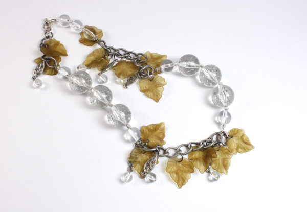Necklace - clear acrylic & light brown vine leaves