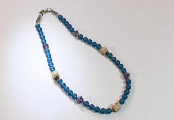Necklace - aquamarine frosted glass & porcelain