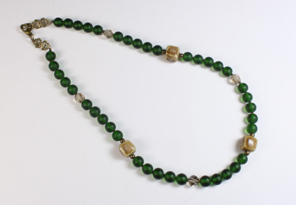 Necklace - green frosted glass & porcelain