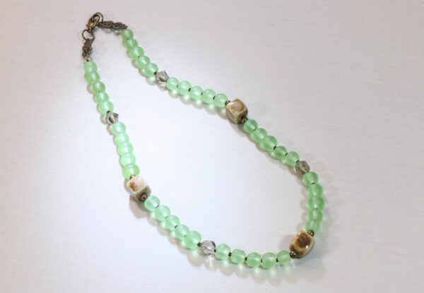 Necklace - lime green Indian frosted glass & porcelain