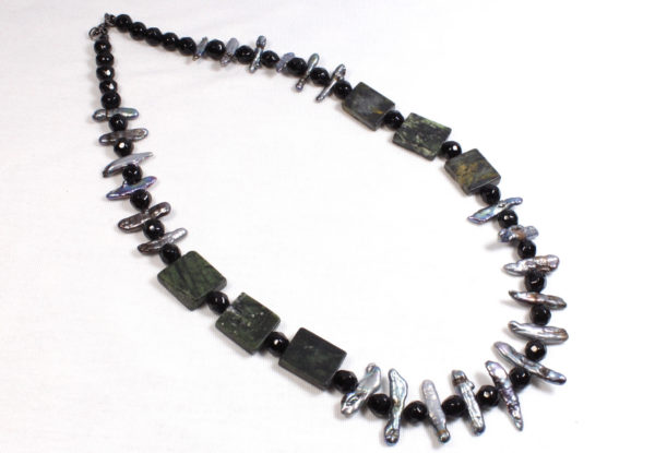 Necklace - mother of pearl sticks & serpentine