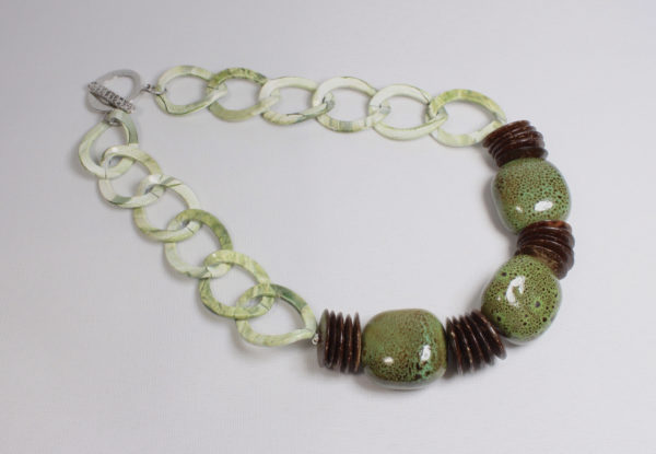 Necklace - olive green porcelain & chain