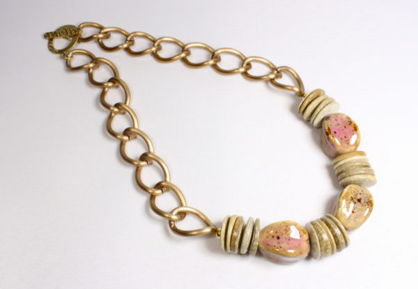 Necklace - pink/beige porcelain & gold chain