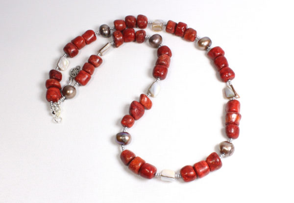 Necklace - coral & mother-of-pearl