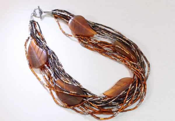 Necklace - amber/pewter seeds & leaf-shaped horn