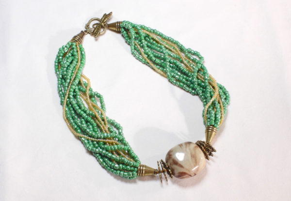 Necklace - teal porcelain & lime green seeds
