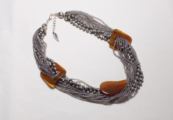 Necklace - silver seeds & square/leaf horn