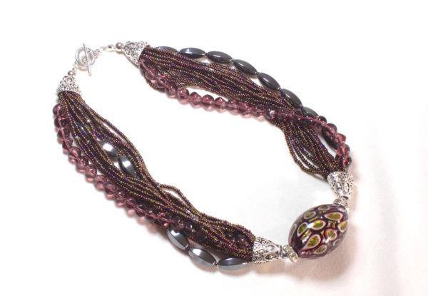 Necklace multi lampwork glass, seeds & hematite