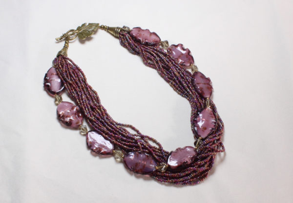 Necklace - dark pink glass & seeds