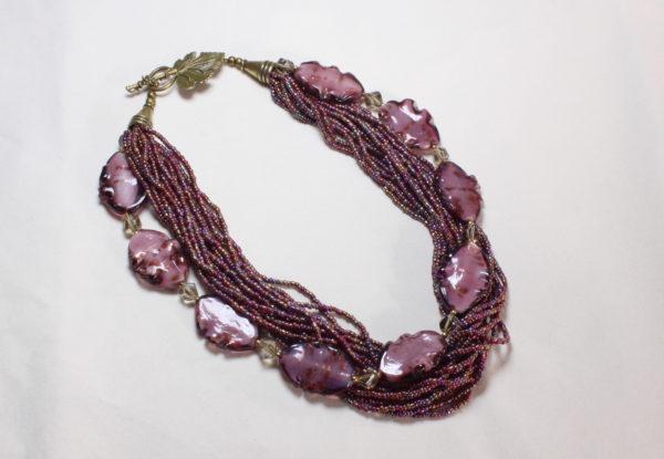Necklace - dark pink glass & seeds