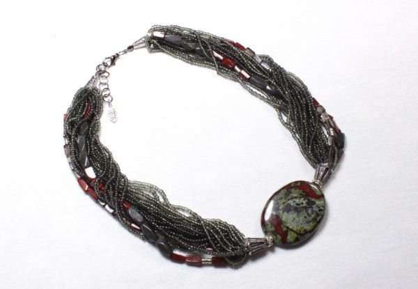 Necklace - bloodstone, red jasper & seeds