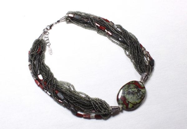 Necklace - bloodstone, red jasper & seeds