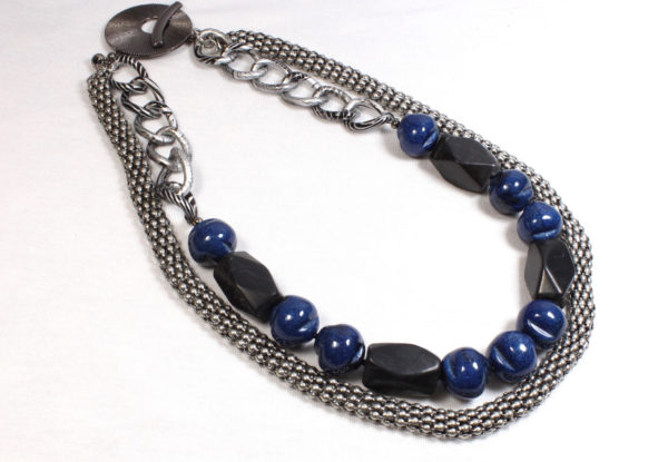 Necklace - blackstone, blue acrylic & silver chain