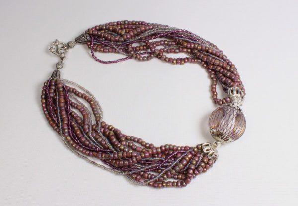 Necklace - dusty pink/silver seeds & acrylic