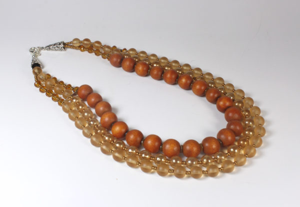 Necklace - orange glass & painted wood