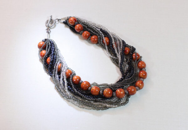 Necklace - red wood & grey/silver seeds