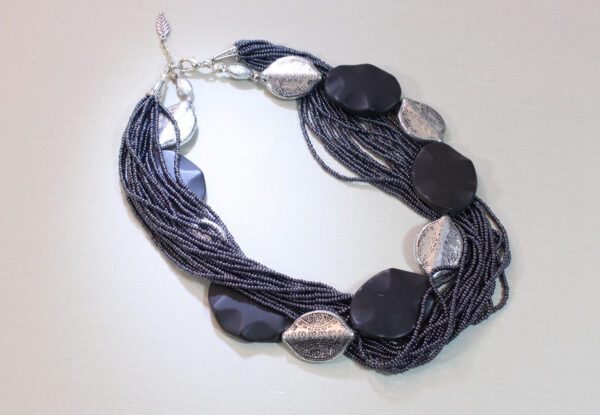 Necklace - blackstone, silver shields & navy seeds
