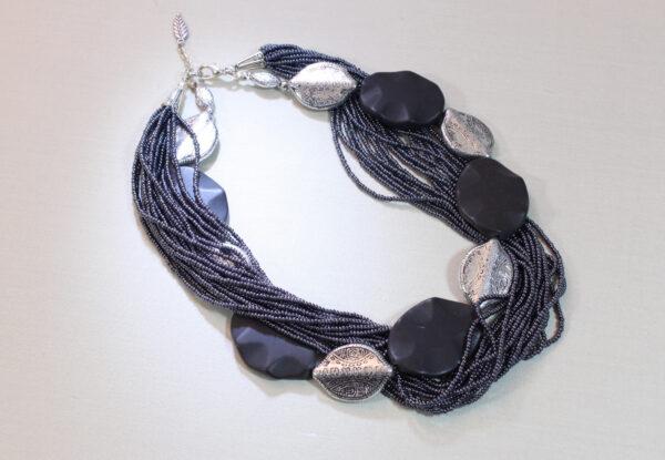 Necklace - blackstone, silver shields & navy seeds