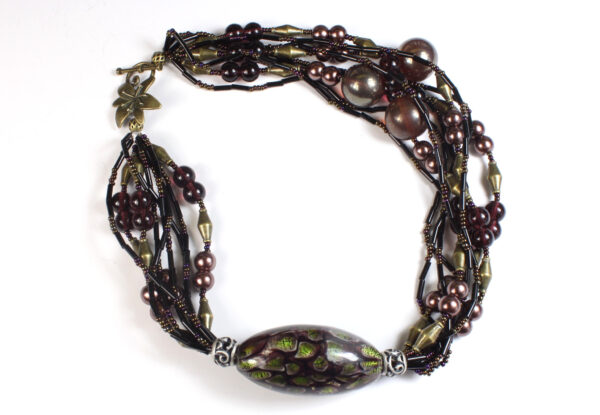Necklace - claret lampwork glass & black bugles