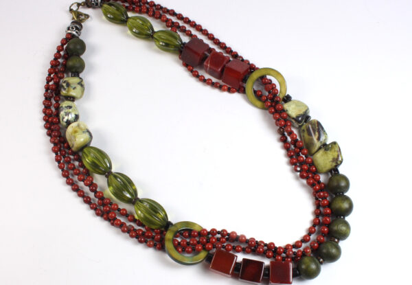 Necklace - red agate, jasper, moss green turquoise