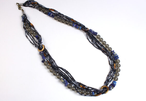 Necklace - lapis, tiger eye & frosted glass