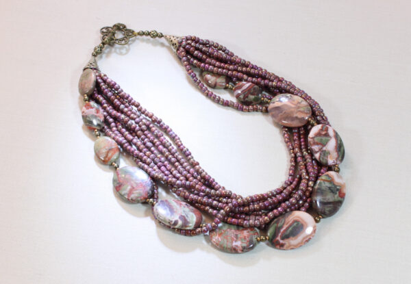 Necklace - pink/olive green sierra agate & seeds
