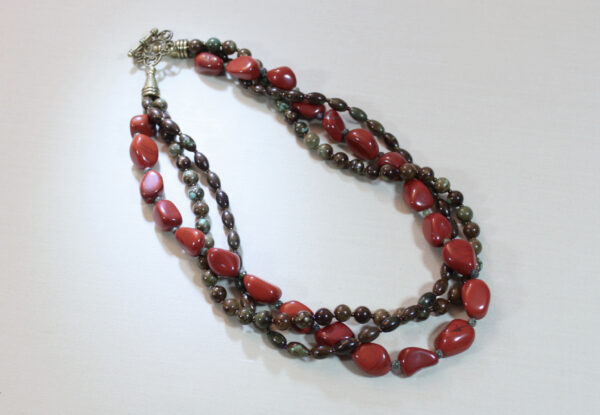 Necklace - red jasper & brown/blue magnesite