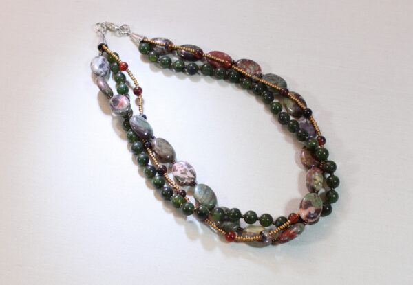 Necklace - sierra agate, jade & gold seeds
