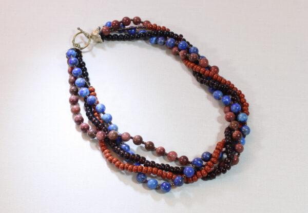 Necklace - lapis lazuli, sandstone, glass & acrylic