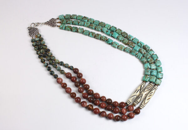 Necklace- magnesite, jasper, sandstone & bone