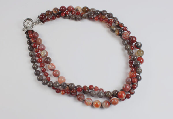 Necklace - red agate & brown magnesite