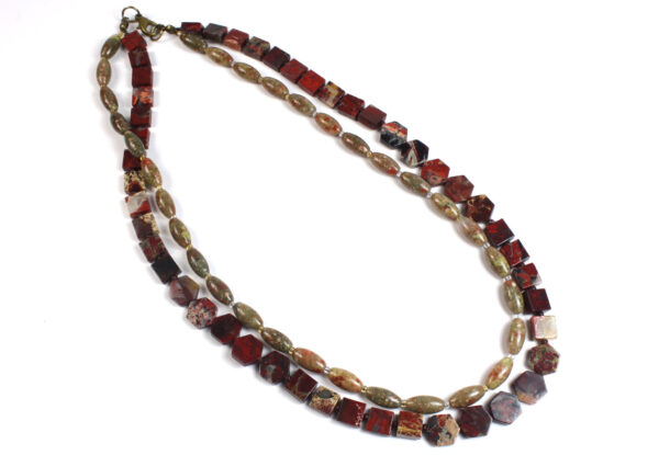 Necklace double strand red autumn Jasper