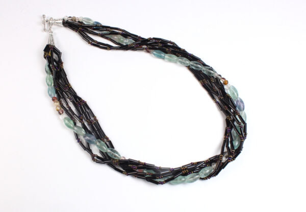 Necklace - fluorite, agate & black seeds