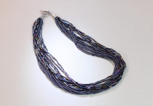 Necklace - Navy Preciosa seeds & bugles