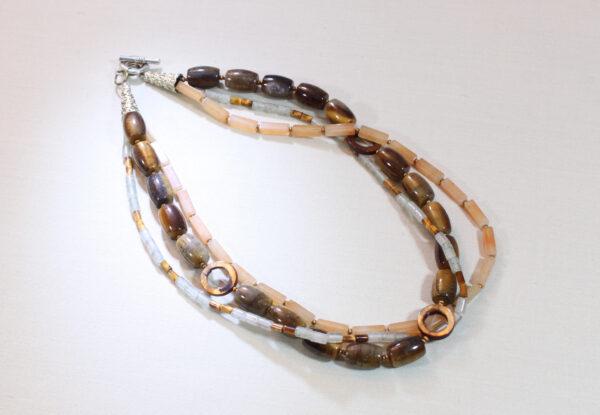 Necklace - tiger eye, labradorite & aventurine