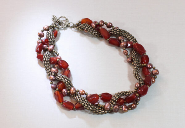 Necklace - red agate, pearl & brass