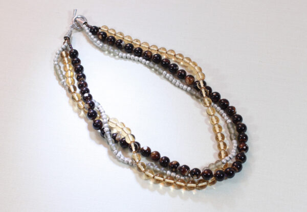 Necklace - amber, brown & silver glass