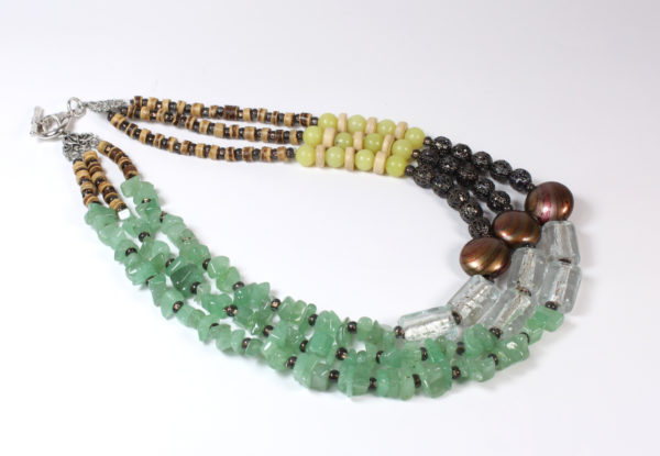 Necklace - aventurine, glass & filigree