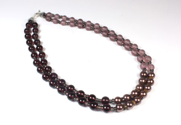 Necklace - dusty pink,claret & copper glass